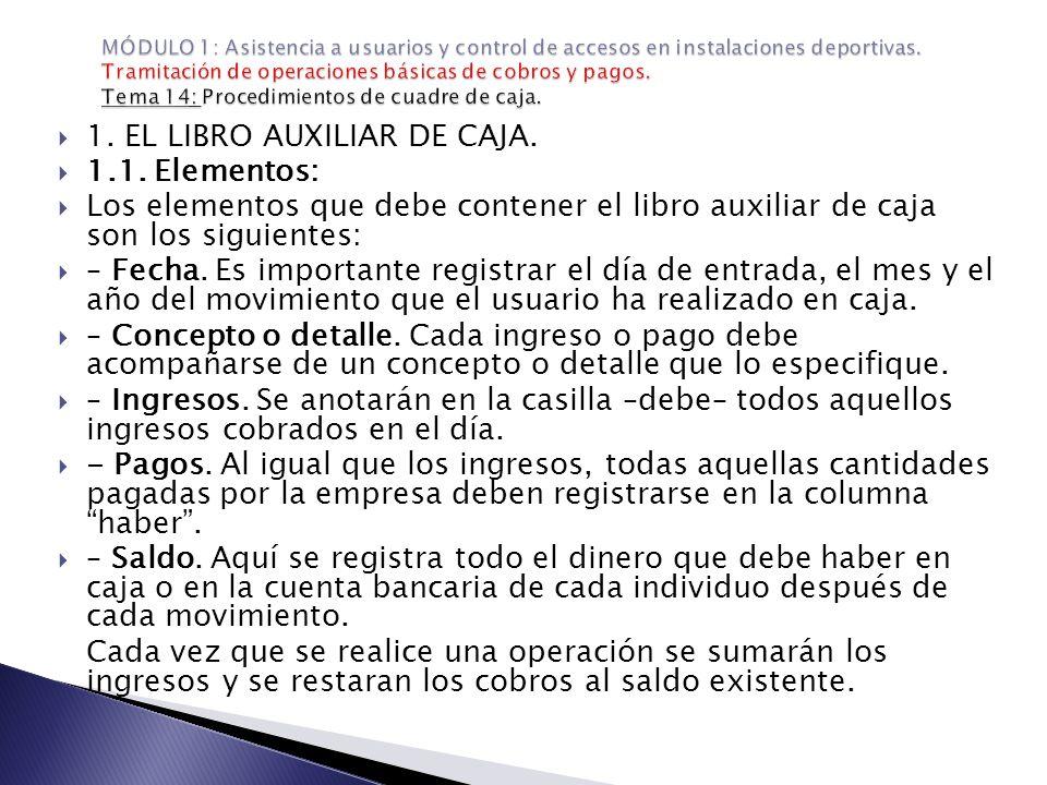 1. EL LIBRO AUXILIAR DE CAJA. 1.1. Elementos: