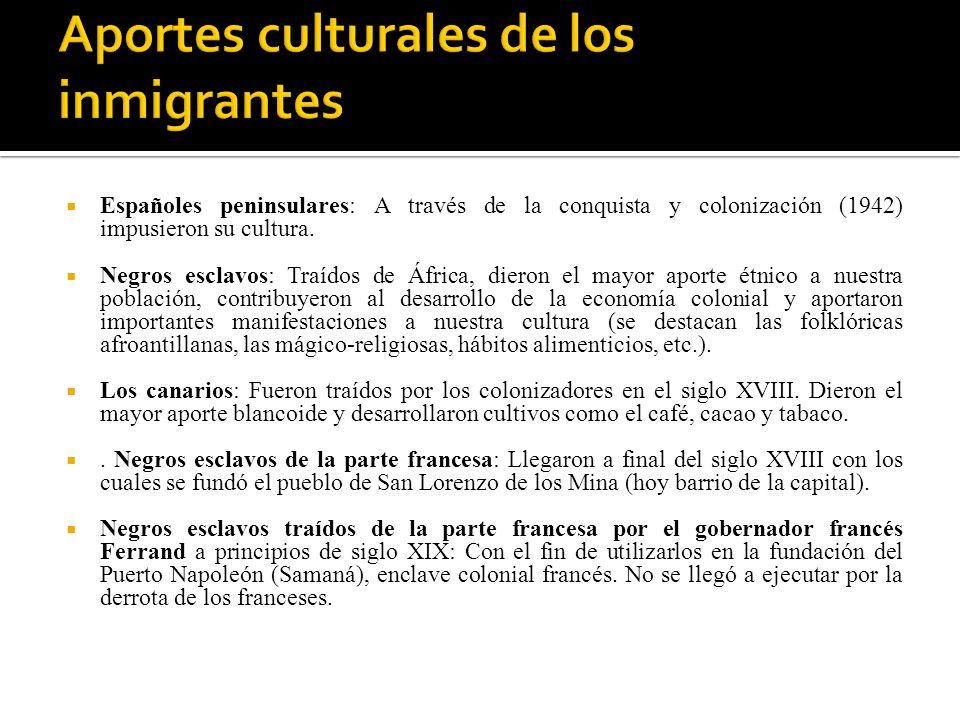 Aportes culturales de los inmigrantes