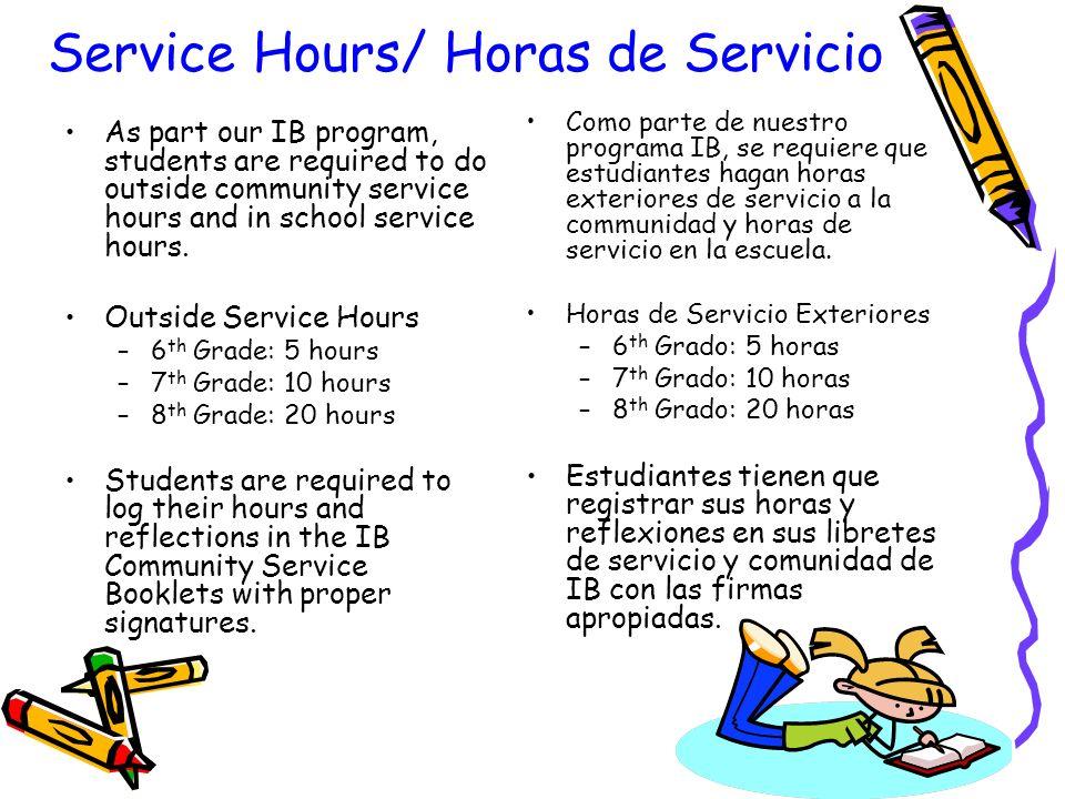 Service Hours/ Horas de Servicio