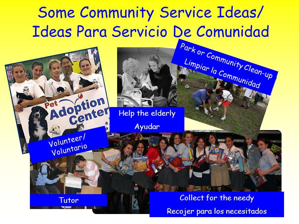 Some Community Service Ideas/ Ideas Para Servicio De Comunidad