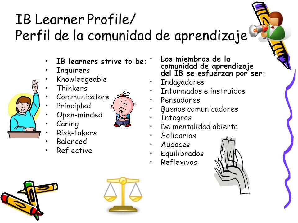 IB Learner Profile/ Perfil de la comunidad de aprendizaje