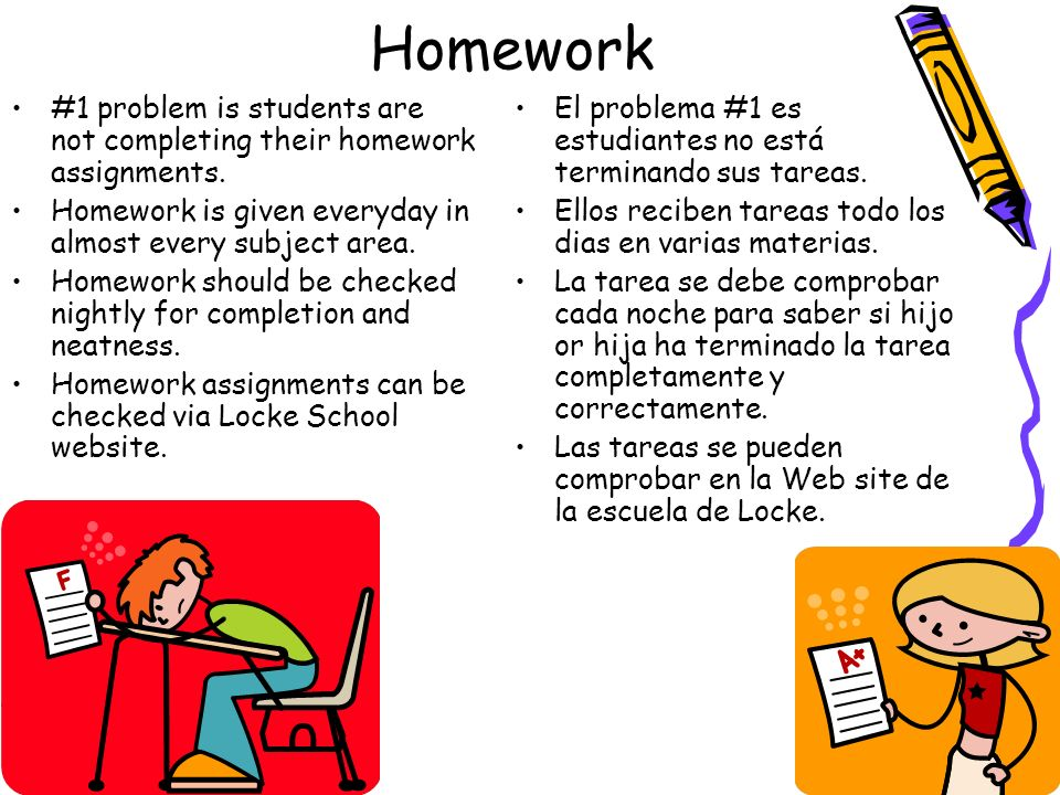 Homework#1 problem is students are not completing their homework assignments. Homework is given everyday in almost every subject area.