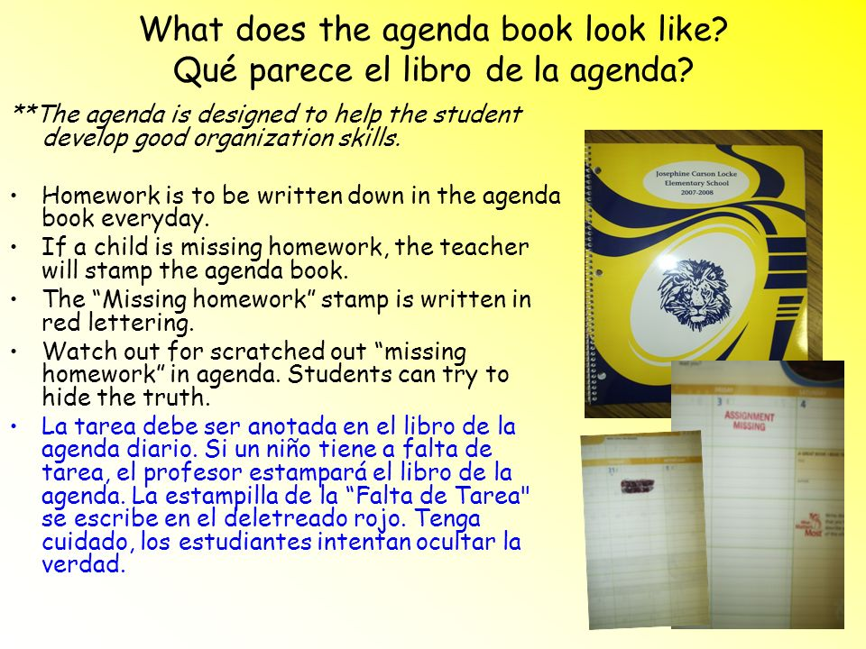 What does the agenda book look like Qué parece el libro de la agenda