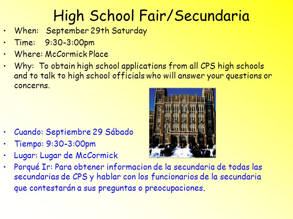 High School Fair/Secundaria