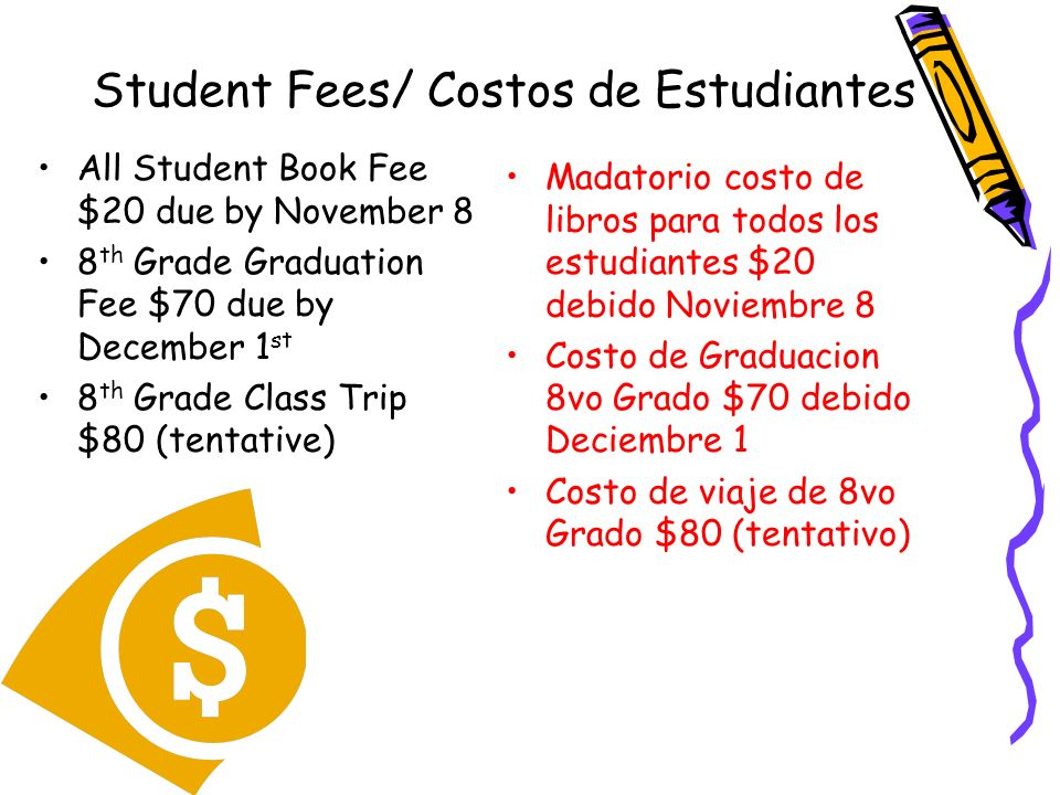 Student Fees/ Costos de Estudiantes