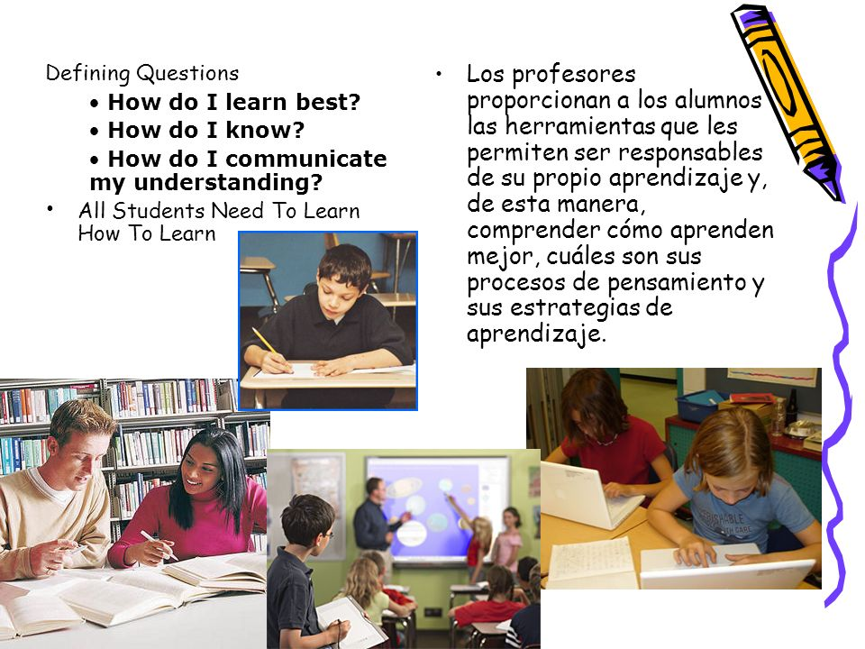 Defining Questions How do I learn best How do I know How do I communicate my understanding All Students Need To Learn How To Learn.