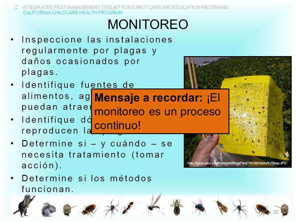MONITOREO Mensaje a recordar: ¡El monitoreo es un proceso continuo!