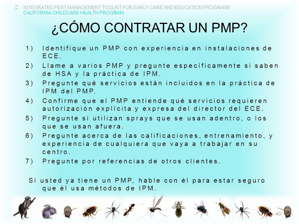 ¿CÓmo contratar un PMP Identifique un PMP con experiencia en instalaciones de ECE.