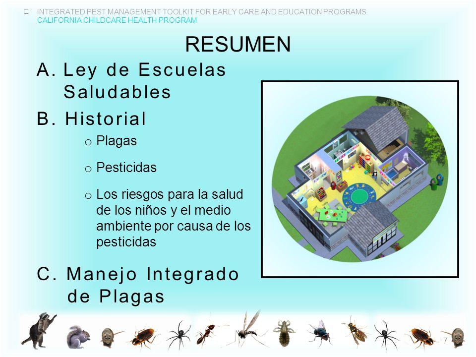 resumen Ley de Escuelas Saludables B. Historial