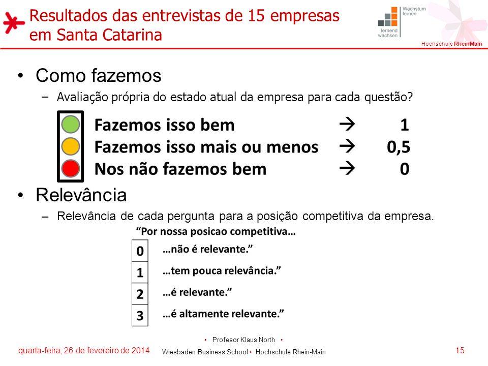Resultados das entrevistas de 15 empresas em Santa Catarina