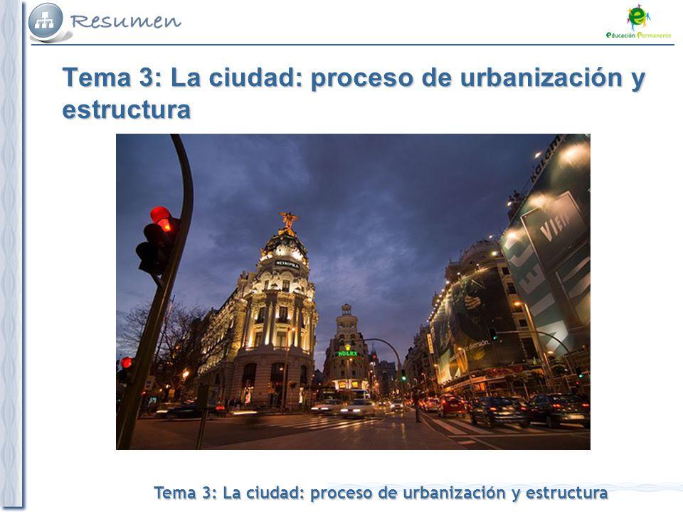 Tema 3: La ciudad: proceso de urbanización y estructura