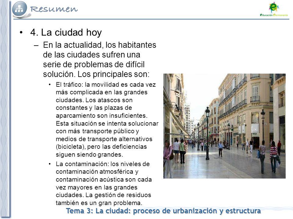 4. La ciudad hoy En la actualidad, los habitantes de las ciudades sufren una serie de problemas de difícil solución. Los principales son: