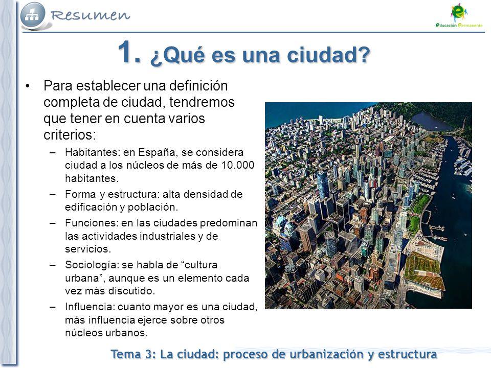 1. ¿Qué es una ciudad Para establecer una definición completa de ciudad, tendremos que tener en cuenta varios criterios: