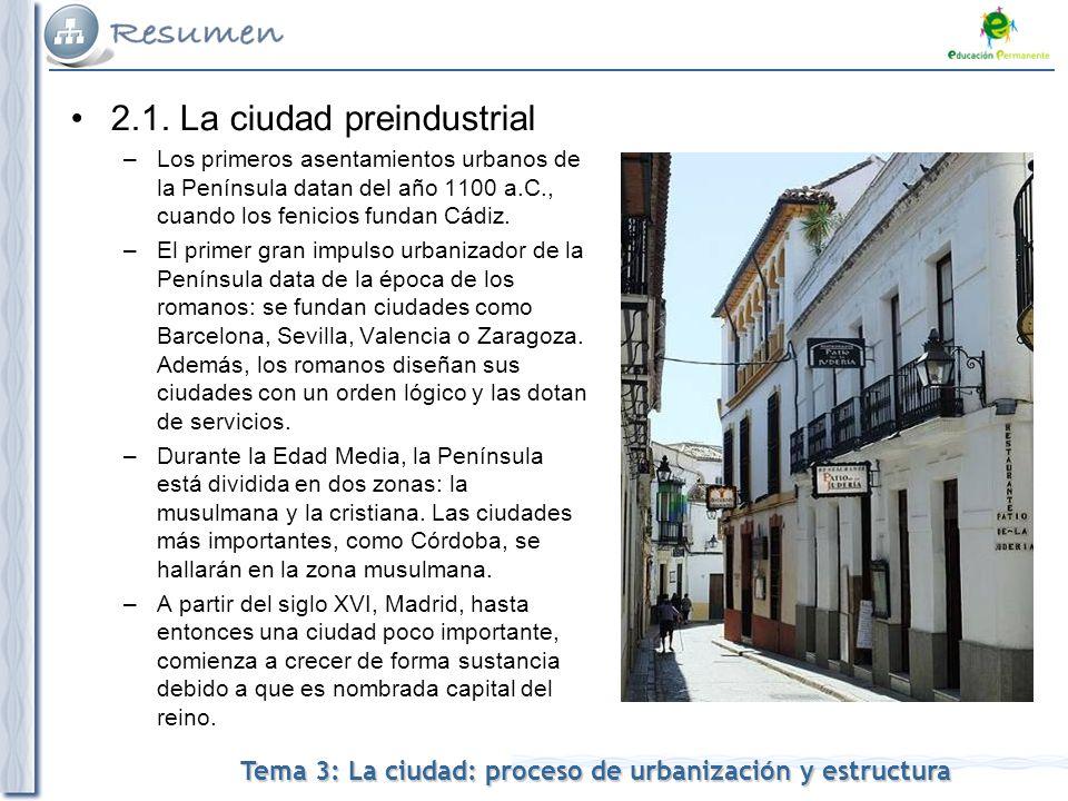 2.1. La ciudad preindustrial