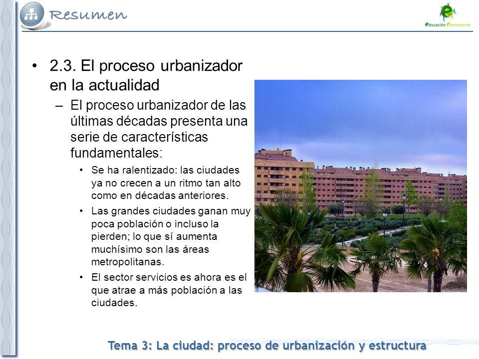 2.3. El proceso urbanizador en la actualidad