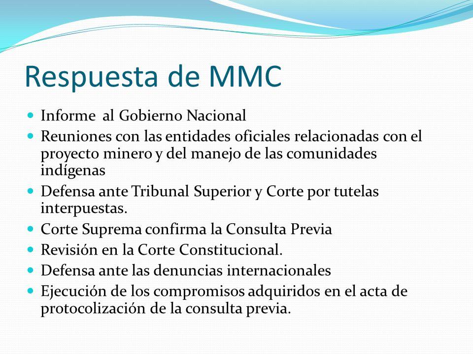 Respuesta de MMC Informe al Gobierno Nacional