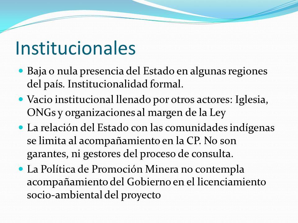 Institucionales Baja o nula presencia del Estado en algunas regiones del país. Institucionalidad formal.