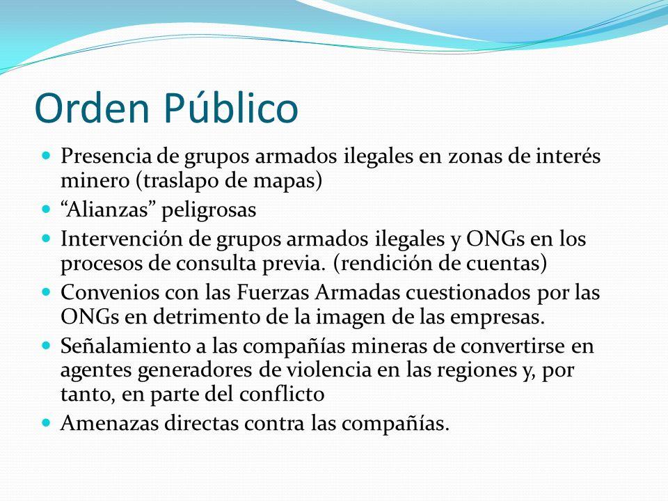Orden Público Presencia de grupos armados ilegales en zonas de interés minero (traslapo de mapas) Alianzas peligrosas.