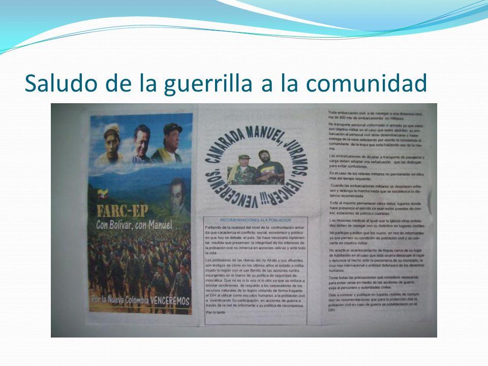 Saludo de la guerrilla a la comunidad