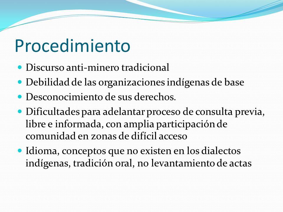 Procedimiento Discurso anti-minero tradicional