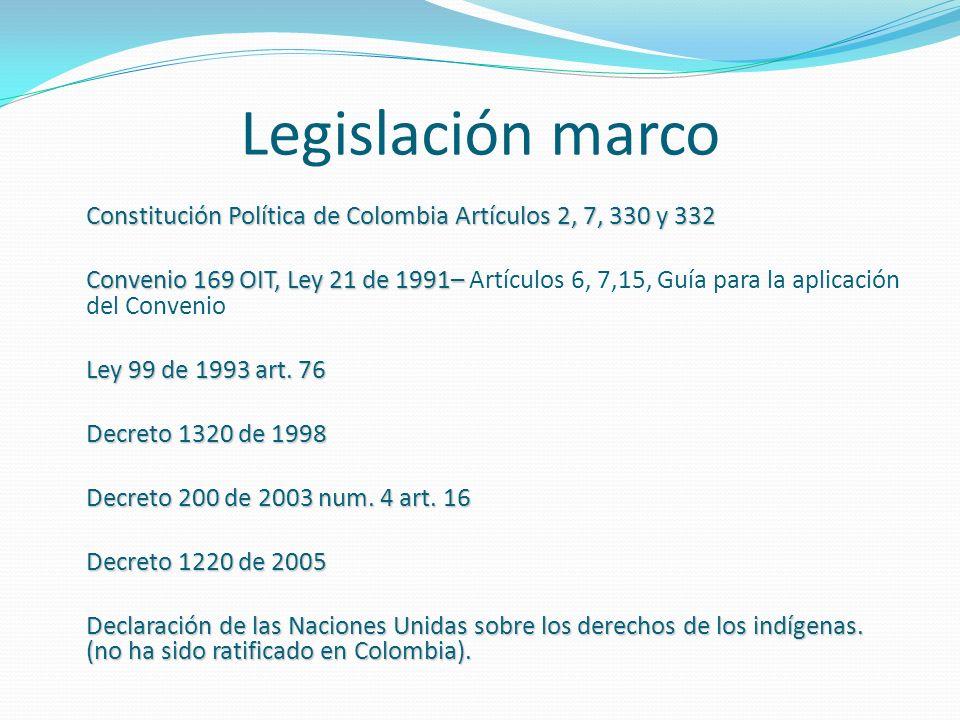 Legislación marco Constitución Política de Colombia Artículos 2, 7, 330 y 332.