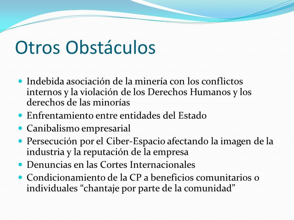 Otros Obstáculos Indebida asociación de la minería con los conflictos internos y la violación de los Derechos Humanos y los derechos de las minorías.