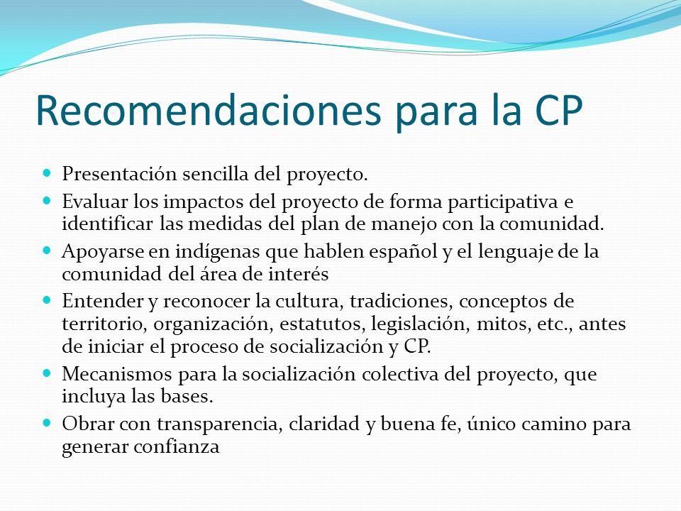 Recomendaciones para la CP