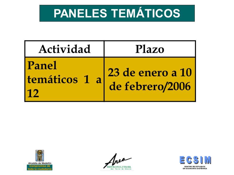 PANELES TEMÁTICOS Actividad Plazo Panel temáticos 1 a 12 23 de enero a 10 de febrero/2006