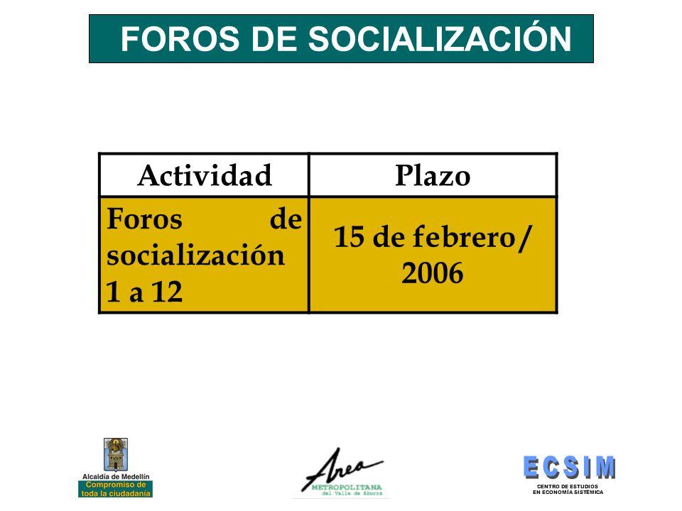 FOROS DE SOCIALIZACIÓN