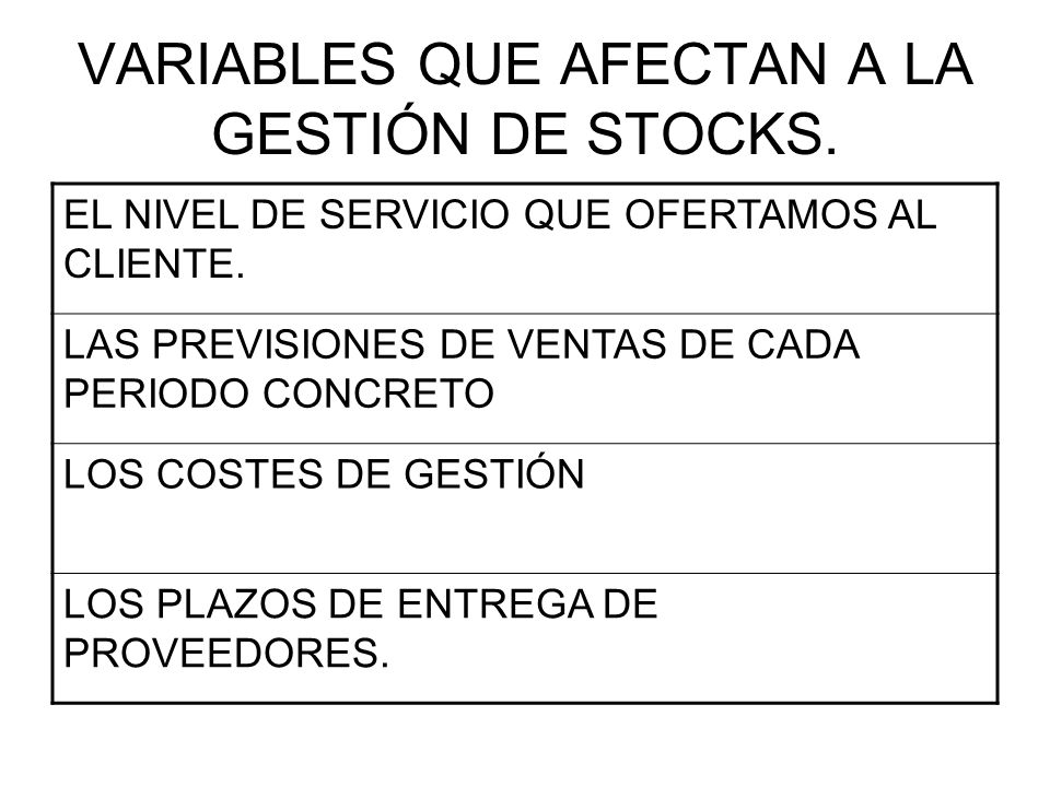 VARIABLES QUE AFECTAN A LA GESTIÓN DE STOCKS.