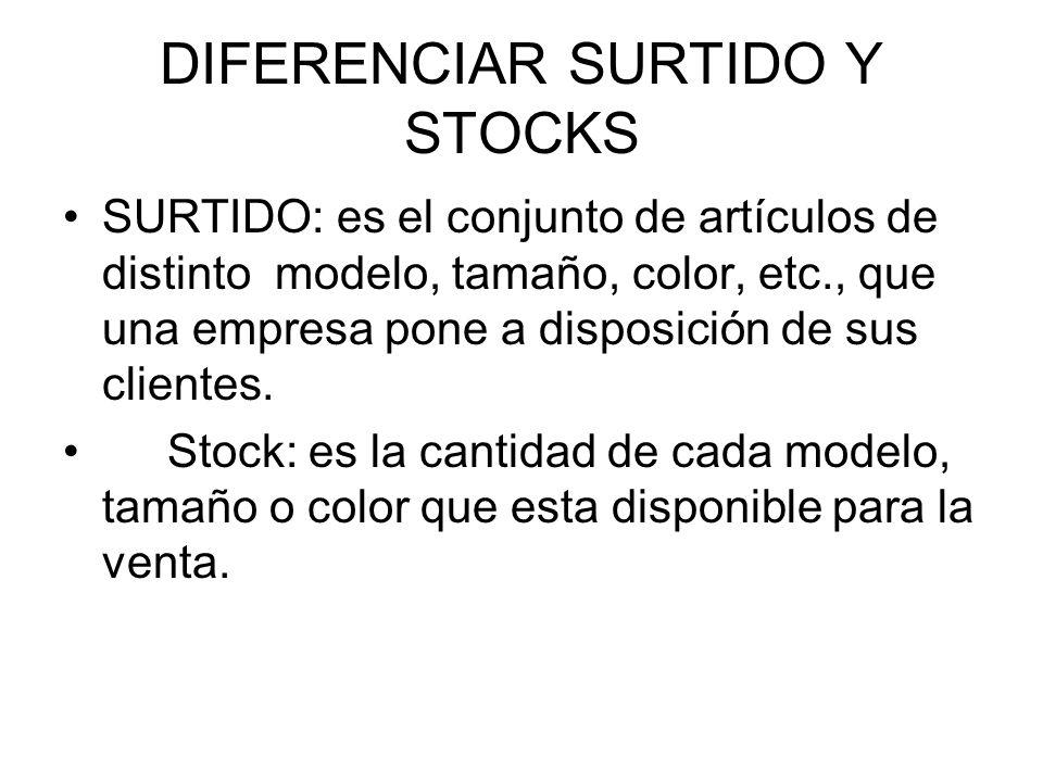 DIFERENCIAR SURTIDO Y STOCKS
