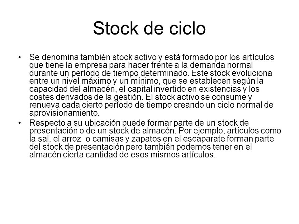 Stock de ciclo