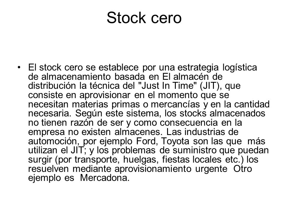 Stock cero