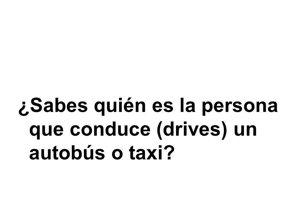¿Sabes quién es la persona que conduce (drives) un autobús o taxi
