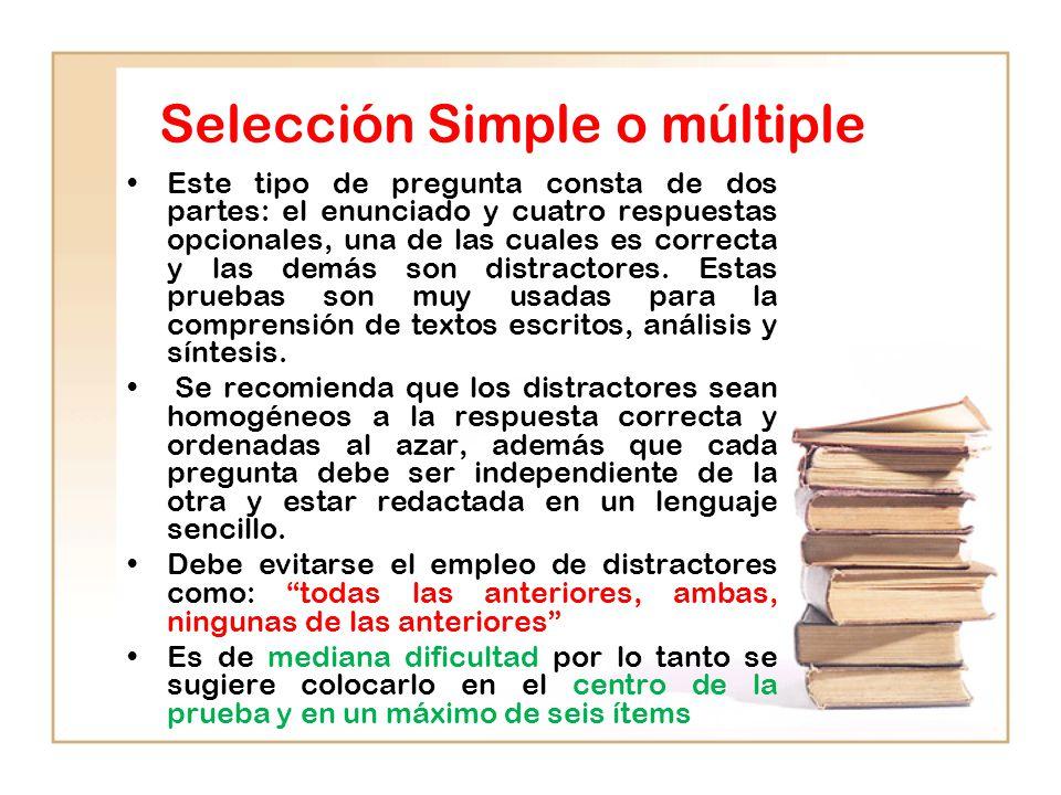 Selección Simple o múltiple