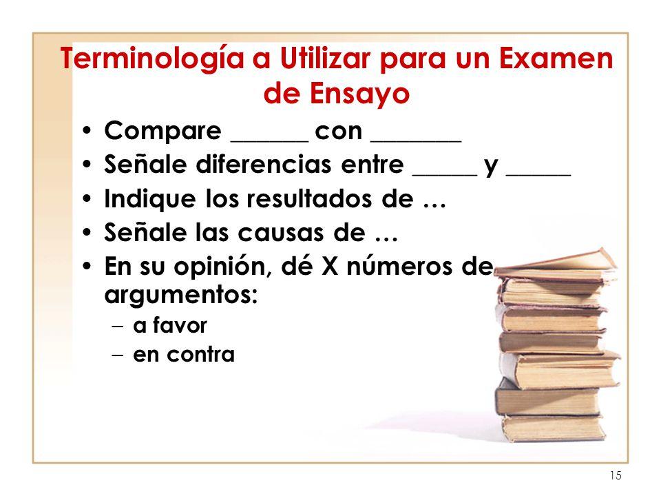 Terminología a Utilizar para un Examen de Ensayo