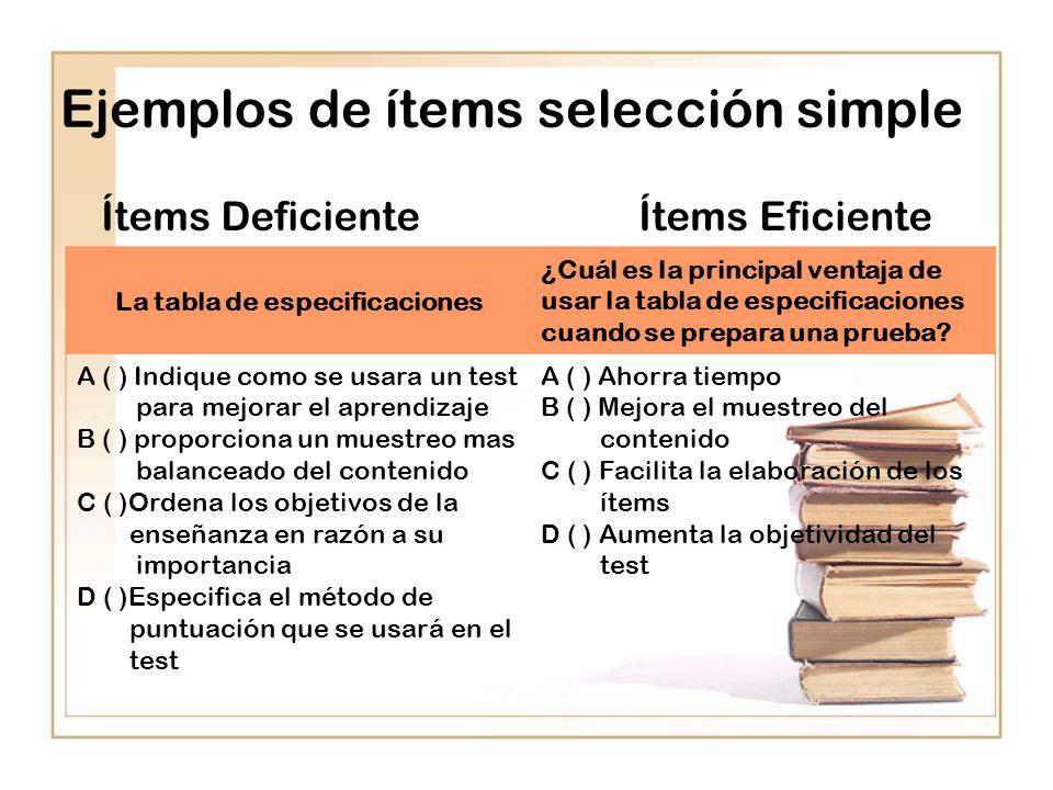 Ejemplos de ítems selección simple