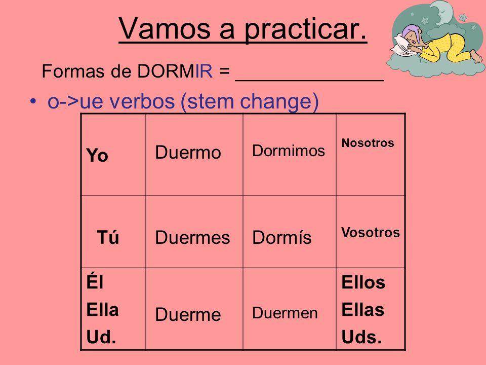 Vamos a practicar. o->ue verbos (stem change)