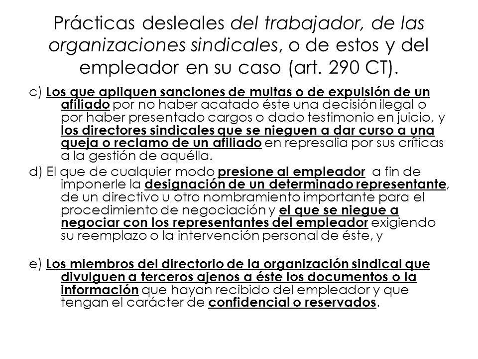 Prácticas desleales del trabajador, de las organizaciones sindicales, o de estos y del empleador en su caso (art. 290 CT).
