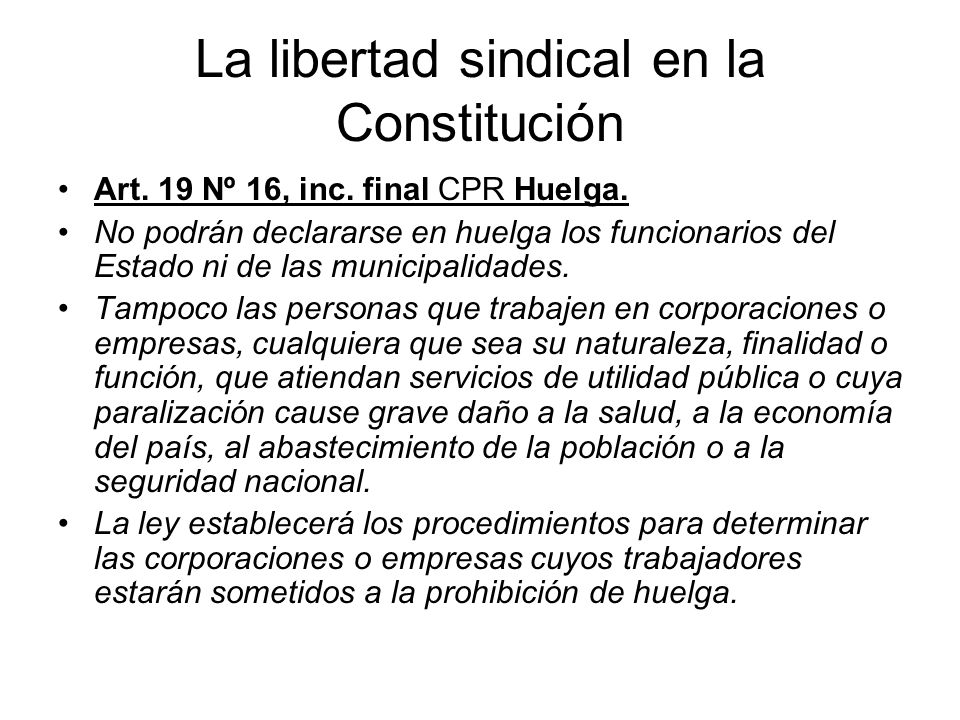 La libertad sindical en la Constitución