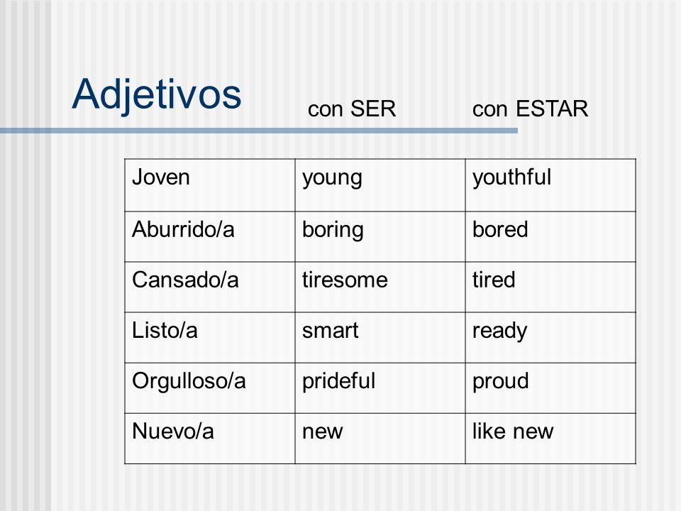 Adjetivos con SER con ESTAR Joven young youthful Aburrido/a boring