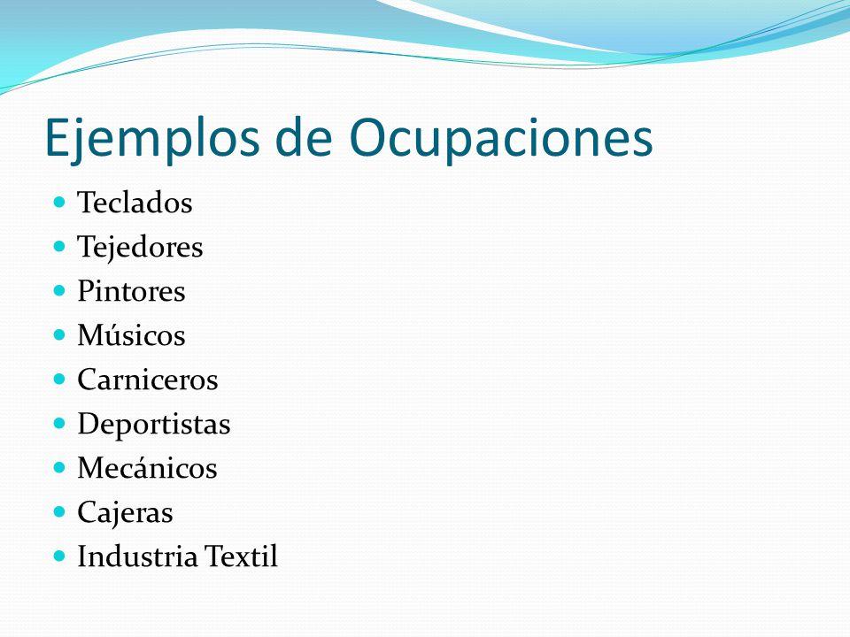 Ejemplos de Ocupaciones