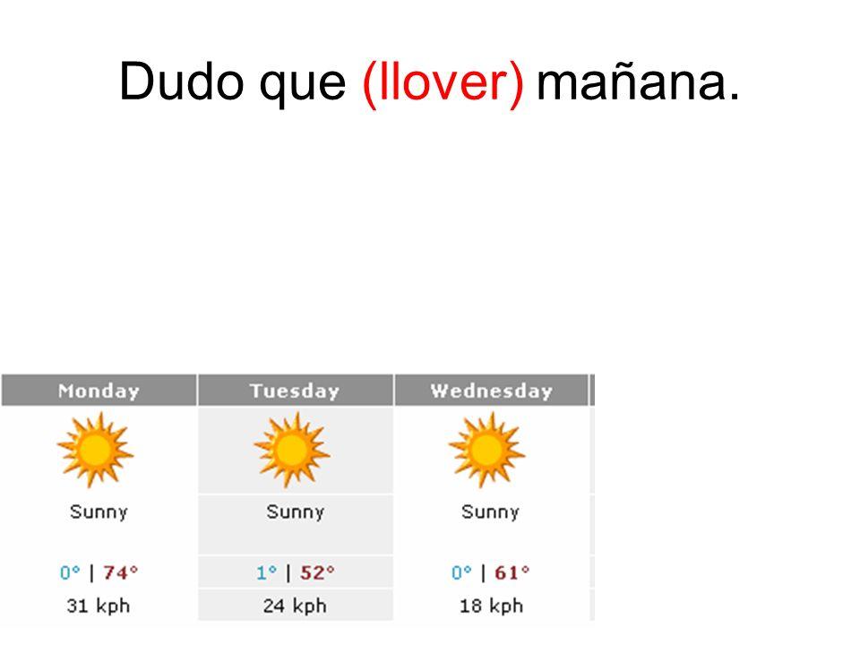 Dudo que (llover) mañana.