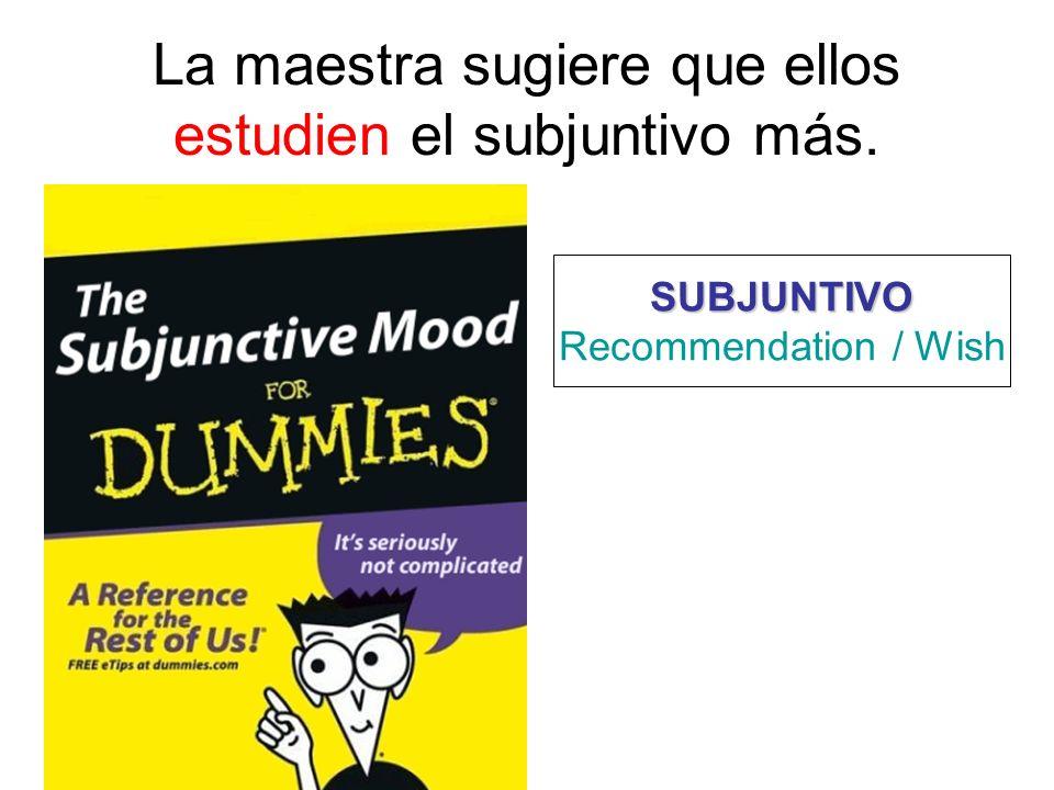 La maestra sugiere que ellos estudien el subjuntivo más.