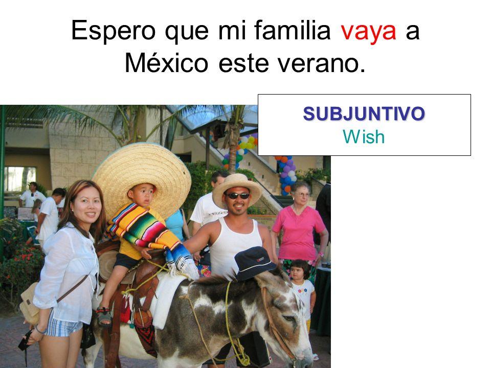 Espero que mi familia vaya a México este verano.