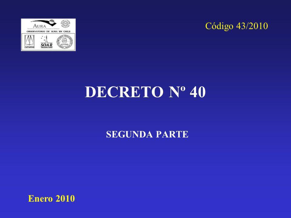 Código 43/2010 DECRETO Nº 40 SEGUNDA PARTE Enero 2010