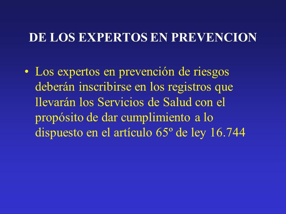 DE LOS EXPERTOS EN PREVENCION