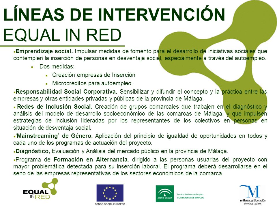 LÍNEAS DE INTERVENCIÓN EQUAL IN RED