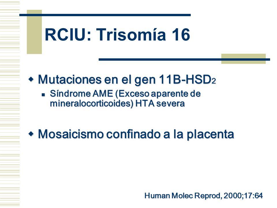 RCIU: Trisomía 16 Mutaciones en el gen 11B-HSD2
