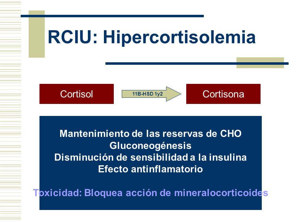 RCIU: Hipercortisolemia